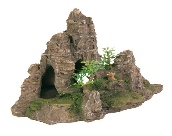 Zdjęcie Trixie Dekoracja formacja skał szara z rośliną mała 22 x 10,5 x 12,5 cm