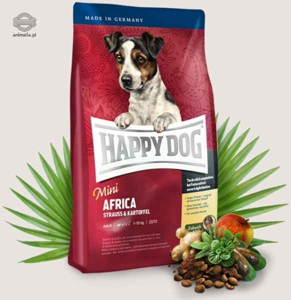 happy dog supreme mini africa dla ma ych ras z mi sem strusia i ziemniakami 300g. Black Bedroom Furniture Sets. Home Design Ideas
