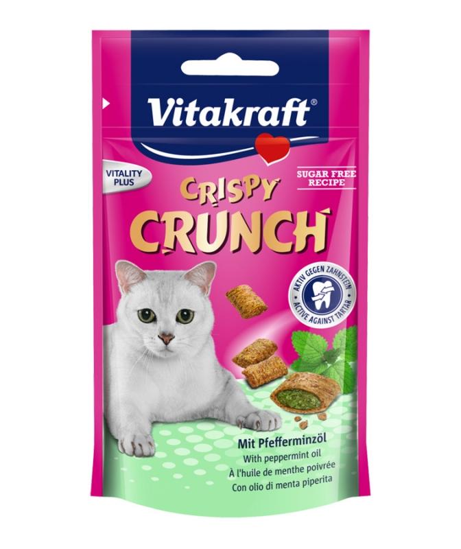 Vitakraft Cat Crispy Crunch ciasteczka z nadzieniem miętowym 60g