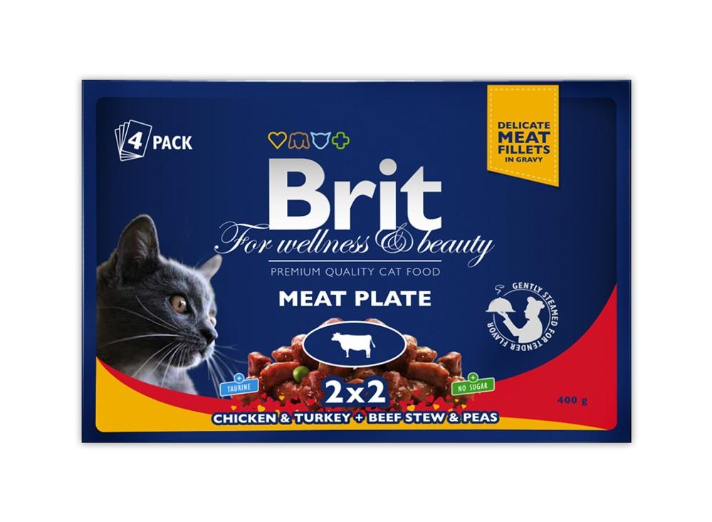 Brit Premium Cat Adult czteropak saszetek w sosie Meat Plate 4x100g