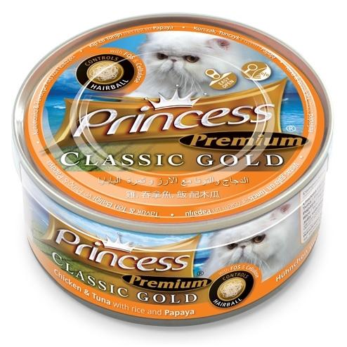 Princess Premium Cat Classic Gold puszka odkłaczająca kurczak, tuńczyk i papaja 170g