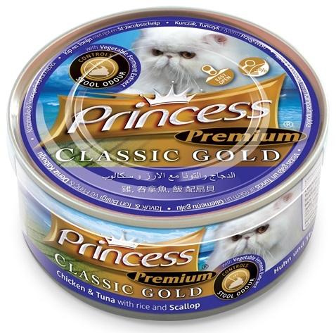 Princess Premium Cat Classic Gold puszka kontrola zapachów kurczak, tuńczyk i przegrzebki 170g