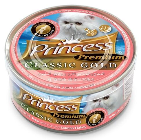 Princess Premium Cat Classic Gold puszka zdrowe stawy kurczak, tuńczyk i płaty łososia 170g