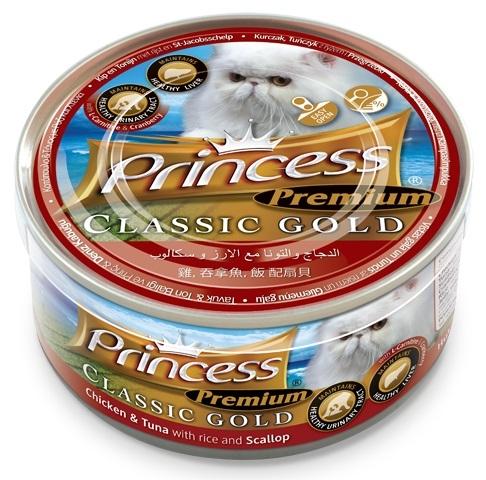 Princess Premium Cat Classic Gold puszka układ moczowy i wątroba kurczak, tuńczyk i przegrzebki z żurawiną 170g