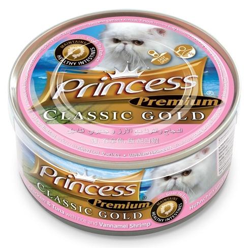 Princess Premium Cat Classic Gold puszka zdrowe jelita kurczak, tuńczyk i krewetki Vannamei 170g