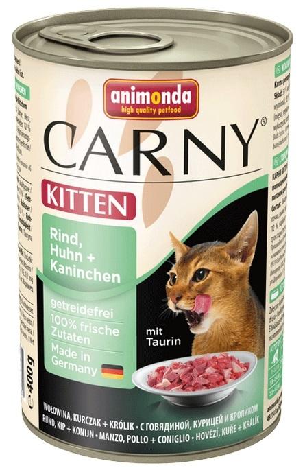 Animonda Carny Kitten wołowina, kurczak + królik 400g