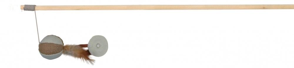 Trixie Wędka dla kota z piłką jutową i piórkami 50 cm