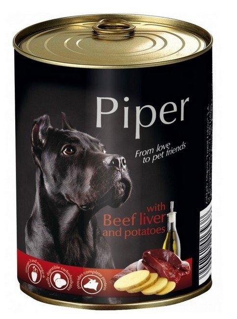 Zdjęcie Piper Puszka dla psa duża  z wątrobą wołową i ziemniakami 800g