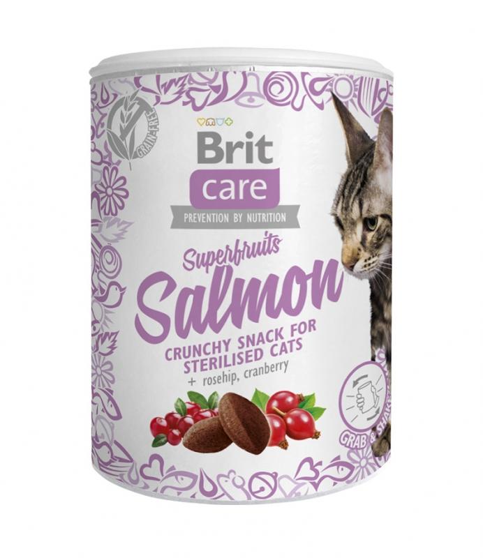 Brit Cat Snack Superfruits Salmon chrupiące serduszka dla kotów sterylizowanych łosoś, dzika róża i żurawina 100g