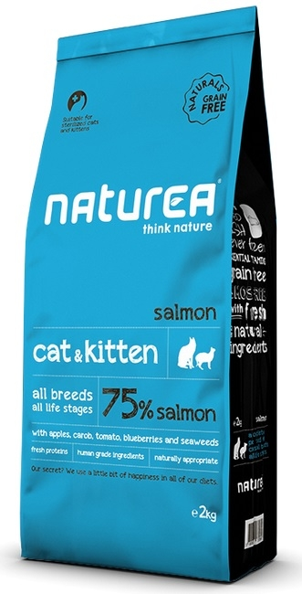 Naturea Naturals Cat and Kitten 75% Salmon Grain Free karma sucha 100g