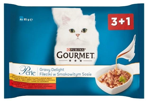 Zdjęcie Gourmet Czteropak saszetek Perle  Gravy Delight fileciki w smakowitym sosie 4x85g