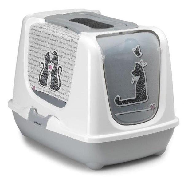 Yarro Kryta kuweta Trendy Cat szara z wzorem: Cats in Love 50 x 39 x 37,5cm