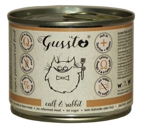 Zdjęcie Gussto Puszka dla kota Fresh Calf & Rabbit świeża cielęcina z królikiem 200g