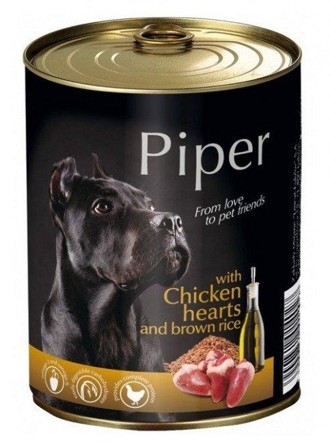 Zdjęcie Piper Puszka dla psa średnia  z sercami kurczaka i brązowym ryżem 400g