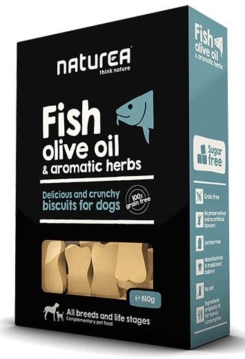 Zdjęcie Naturea Biszkopty dla psa Fish, Olive Oil & Herbs  o smaku ryby z oliwą z oliwek i ziół 140g