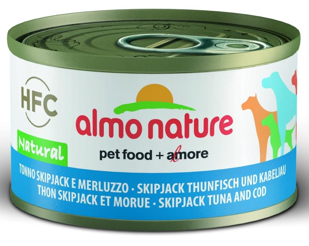 Zdjęcie Almo Nature Dog Puszka dla psa mała  tuńczyk Skipjack i dorsz 95g