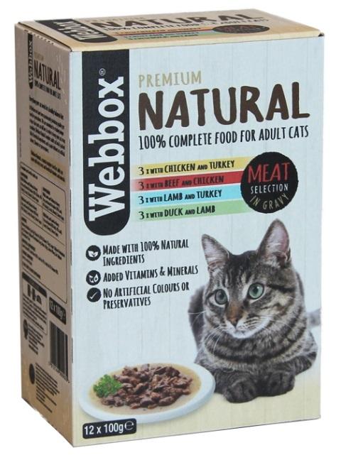 Webbox Multipak saszetek Premium Natural dla kota w sosie Meat Selection in gravy 12x100g
