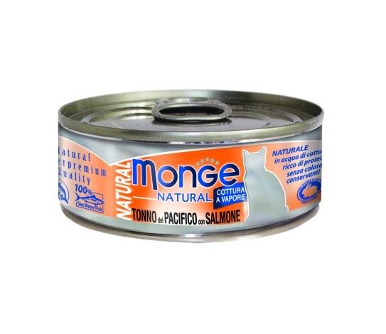 Monge Natural puszka dla kota tuńczyk z kurczakiem i łososiem w sosie 80g