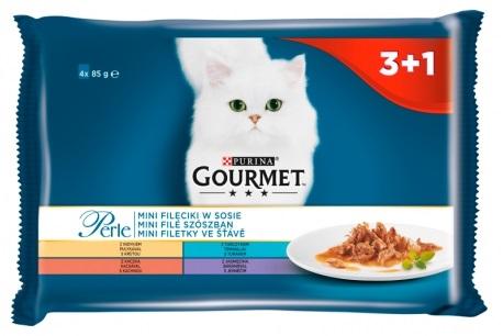 Zdjęcie Gourmet Czteropak saszetek Perle  mini fileciki w sosie 4x85g