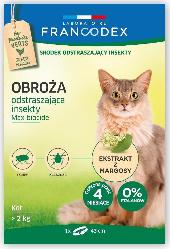 Zdjęcie Francodex Obroża przeciw insektom Max Biocide 4 miesięczna dla kotów i kociąt powyżej 2kg 43 cm