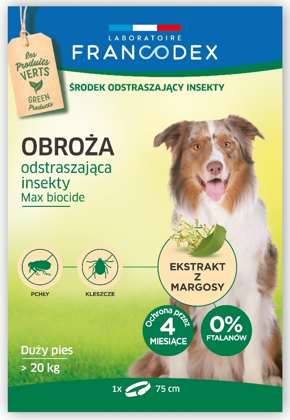 Zdjęcie Francodex Obroża przeciw insektom Max Biocide 4 miesięczna dla psów i szczeniąt powyżej 20kg 75 cm