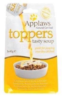 Applaws Natural Cat Toppers polewka do suchej karmy zupa rosół z kawałkami kurczaka 3x40ml