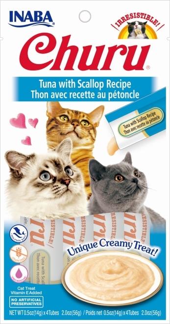 Churu Kremowy przysmak dla kota tuńczyk z przegrzebkiem 4x14g