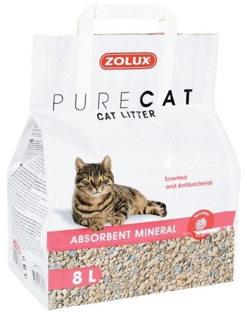 Zolux Pure Cat żwirek mineralny antybakteryjny dla kotów kwiatowy 8l