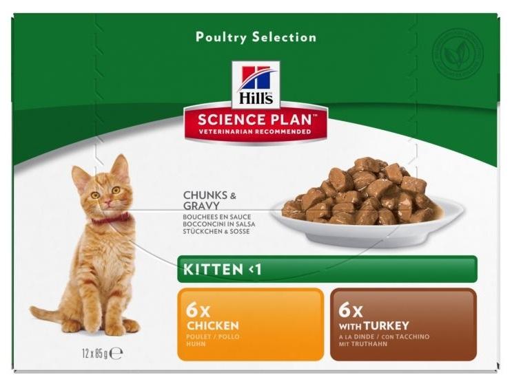Zdjęcie Hill's Kitten Saszetka Multipak Poultry Selection drobiowy 12 szt.
