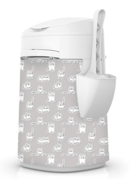 Petmate Pokrowiec na pojemnik Litter Locker Design szary w białe kotki