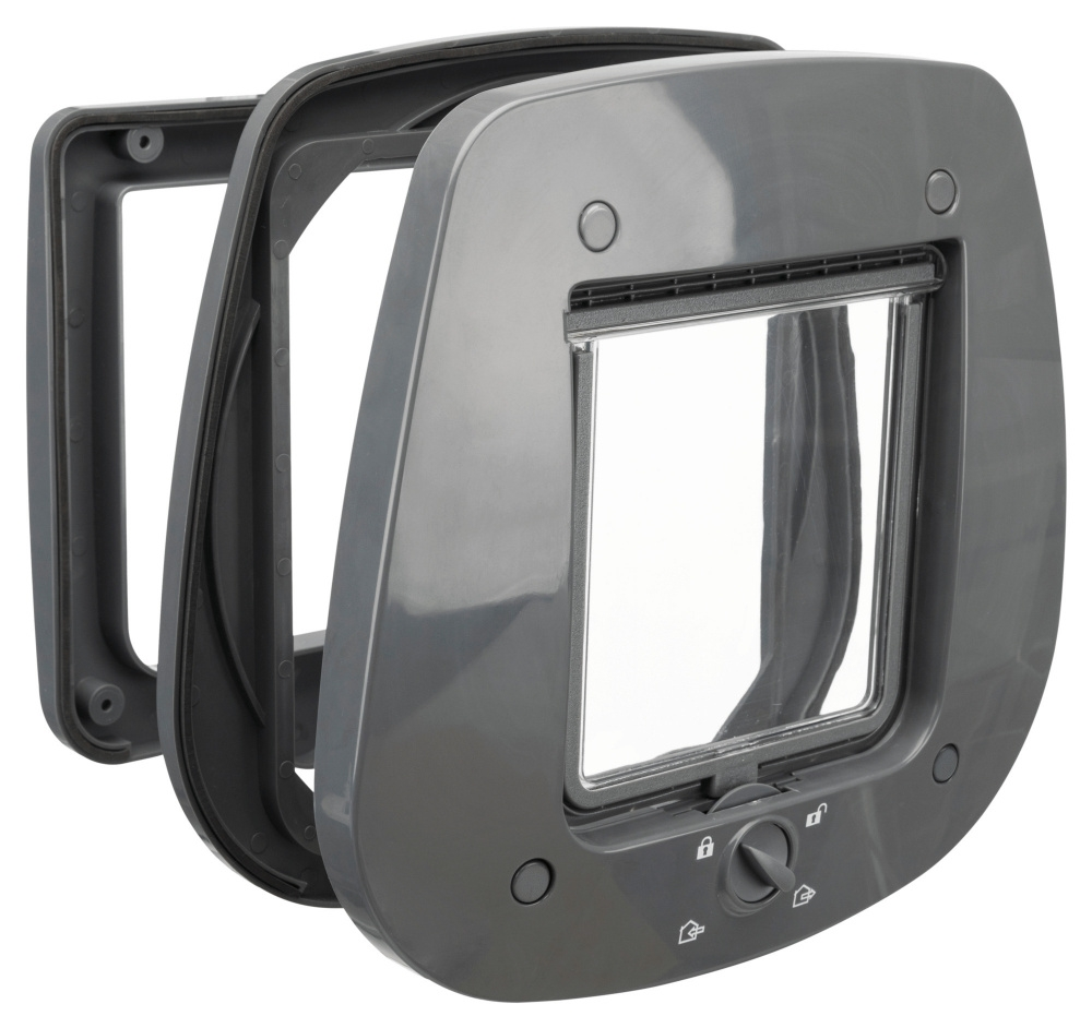 Trixie Drzwiczki 4-Way do szkła czterofunkcyjne szare