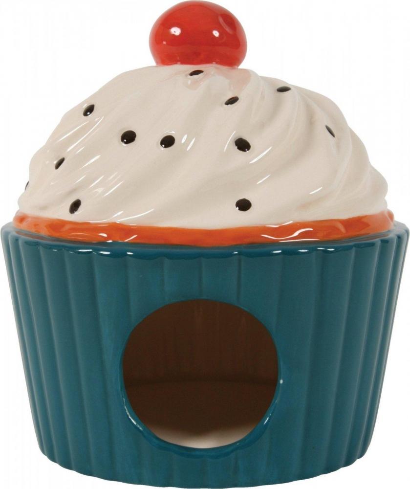 Zdjęcie Zolux Domek ceramiczny Ciastko z Wisienką dla gryzoni  niebieski 11,5x11,5x15 cm