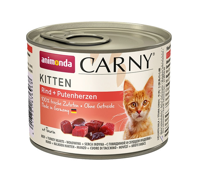 Zdjęcie Animonda Carny Kitten  wołowina + serca indyka 200g