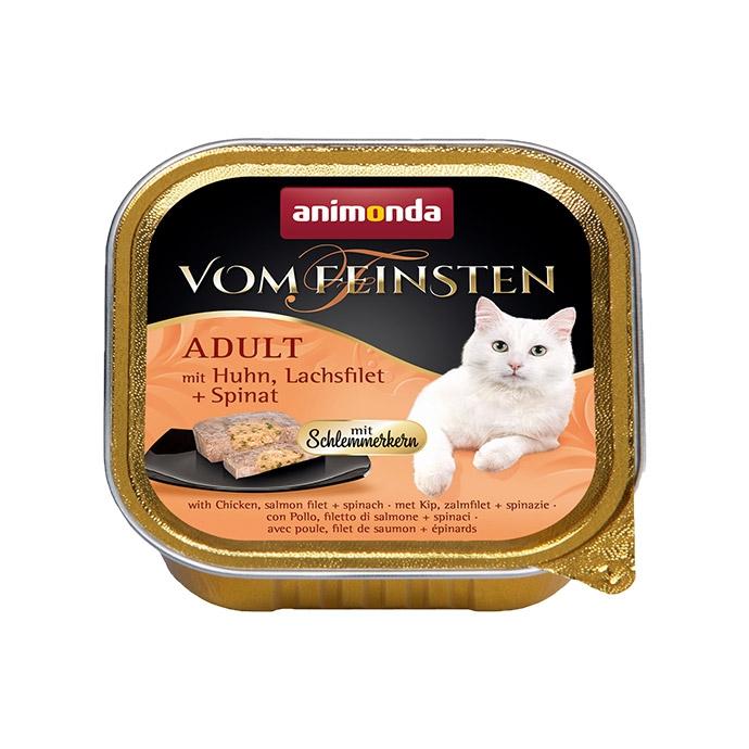 Animonda Vom Feinsten Adult pasztet z galaretką z kurczakiem, filetem z łososia i szpinakiem 100g