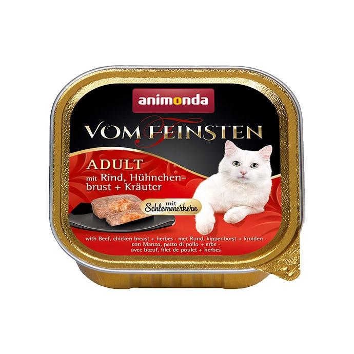 Animonda Vom Feinsten Adult pasztet z galaretką z wołowiną, piersią z kurczaka i ziołami 100g PROMOCJA