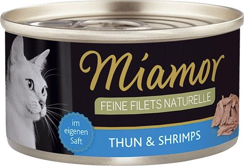 Miamor Puszka Feine Filets Naturelle w sosie własnym tuńczyk + krewetki 80g