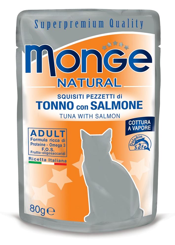 Monge Natural saszetka dla kota tuńczyk z łososiem w galaretce 80g