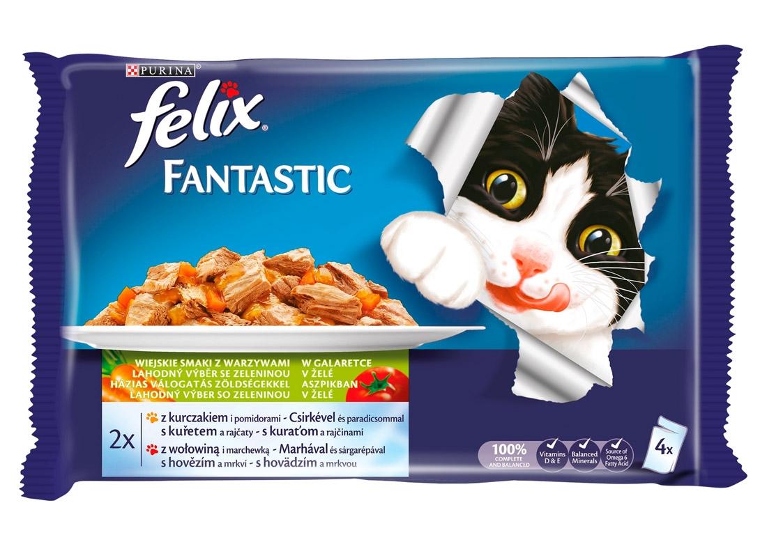 Felix Czteropak saszetek Fantastic Wybór Mięs w galaretce kurczak i pomidory + wołowina i marchewka 4 szt.