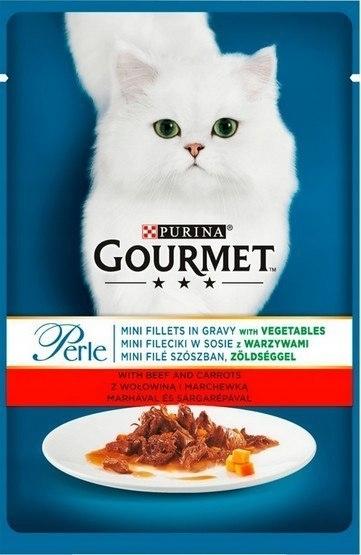 Zdjęcie Gourmet Saszetka Perle w sosie mini fileciki z wołowiną i warzywami 85g
