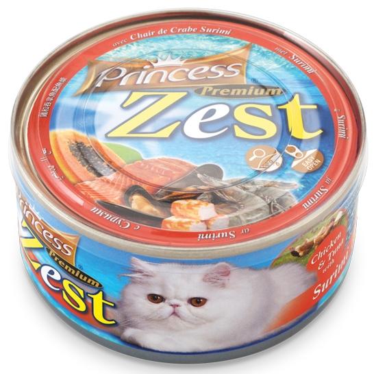 Princess Premium Cat Zest puszka kurczak, tuńczyk i surimi 170g