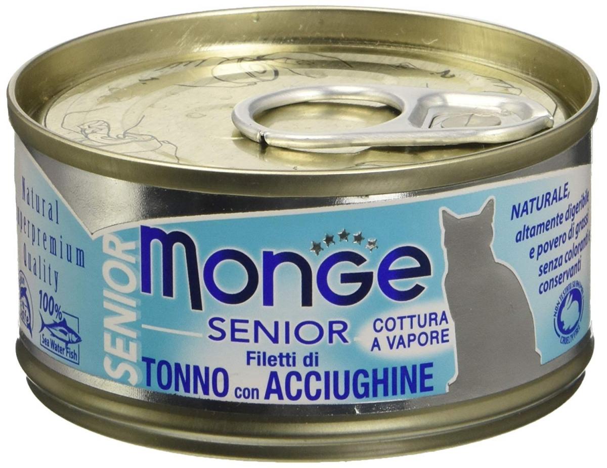 Monge Senior puszka dla starszych kotów tuńczyk z anchovy w sosie 80g