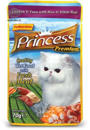 Zdjęcie Princess Premium Cat saszetka  kurczak, tuńczyk i białe ryby (szprotki) 70g