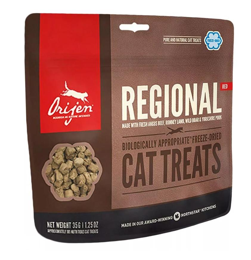 Orijen Cat Treats Regional Red przysmaki liofilizowane 100% mięsa z jagnięciny, wołowiny oraz dzika 35g (100 szt.)