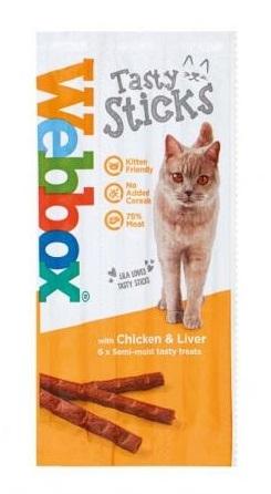 Webbox Tasty Sticks kabanosy dla kota z kurczakiem i wątróbką 6 szt.