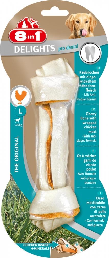 Zdjęcie 8in1 Kość wiązana Pro Dental Delights Large  z mięsem kurczaka 1 szt.