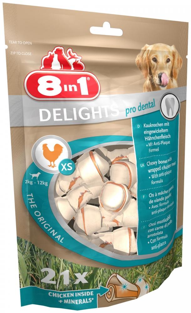 Zdjęcie 8in1 Kość wiązana Pro Dental Delights Mini  z mięsem kurczaka 21 szt.