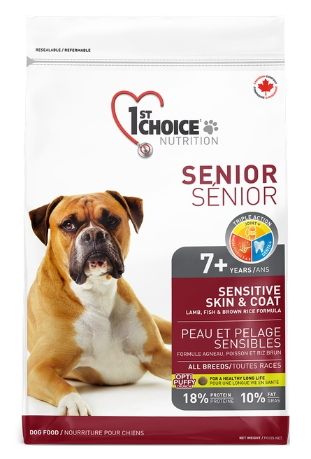 Zdjęcie 1st Choice Dog Senior Sensitive Skin & Coat All Breeds  jagnięcina, ryby, brązowy ryż 2.72kg