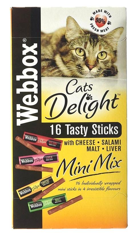 Webbox Cat's Delight Tasty Sticks Mini Mix kabanosy dla kota mix czterech smaków 16 szt.