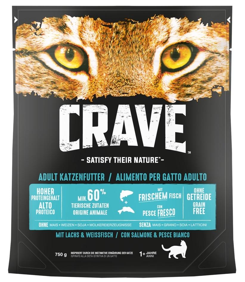 Crave Adult Cat z łososiem i białą rybą 750g