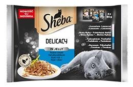 Sheba Czteropak saszetek Delicacy in Jelly w galaretce rybne smaki 4 x 85g